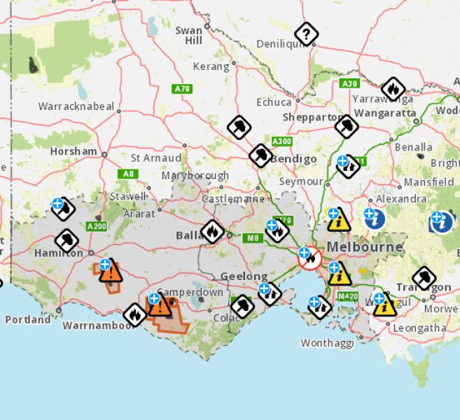 Lokalizacja pożarów w Australii (cfa.vic.gov.au)