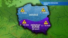Na południu kraju spadnie 10 litrów deszczu na metr kwadratowy