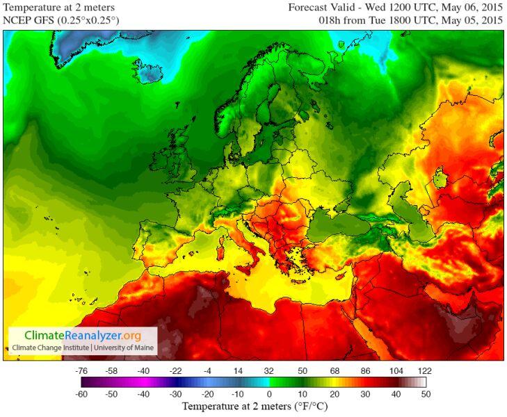 Prognozowana temperatura o godz. 14