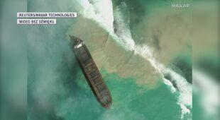 Satelitarne zdjęcia z wycieku ropy w okolicach Mauritiusa